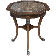 19th Century Octagonal End Table with Postage Stamp Decoupage Top
