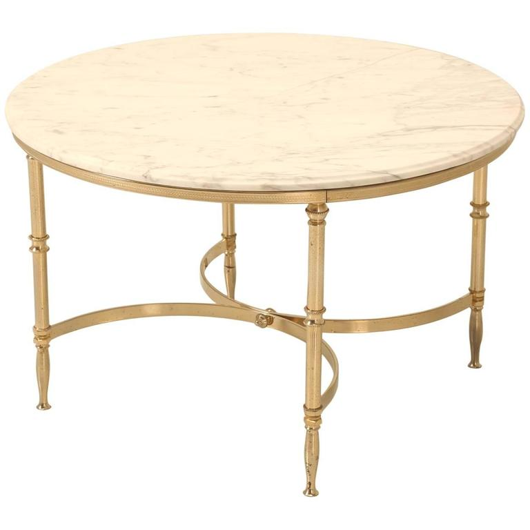 Mid-Century Modern French Round Coffee Table In Brass And