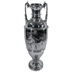 Antique Tiffany Tall Sterling Silver Horse Racing Trophy Cup