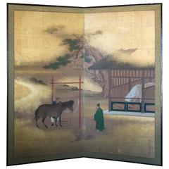 Japan HORSES Fine Antique Two-Panel Gold Mist Screen Meiji Period 19th century