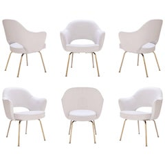 Saarinen Executive Arm Chairs in Dove Luxe-Suede, 24k Gold Edition, Set of Six