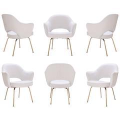 Saarinen Executive Armchairs in Dove Ultrasuede, 24-Karat Gold, Set of Six