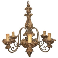 Wood Florence Style Chandelier, Italy, 1960s