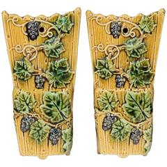 Pair of 19th Century, French Hand-Painted Barbotine Flower Holders with Vines