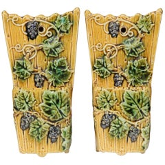 Pair of 19th Century, French Hand Painted Barbotine Wall Hanging Pocket Vases