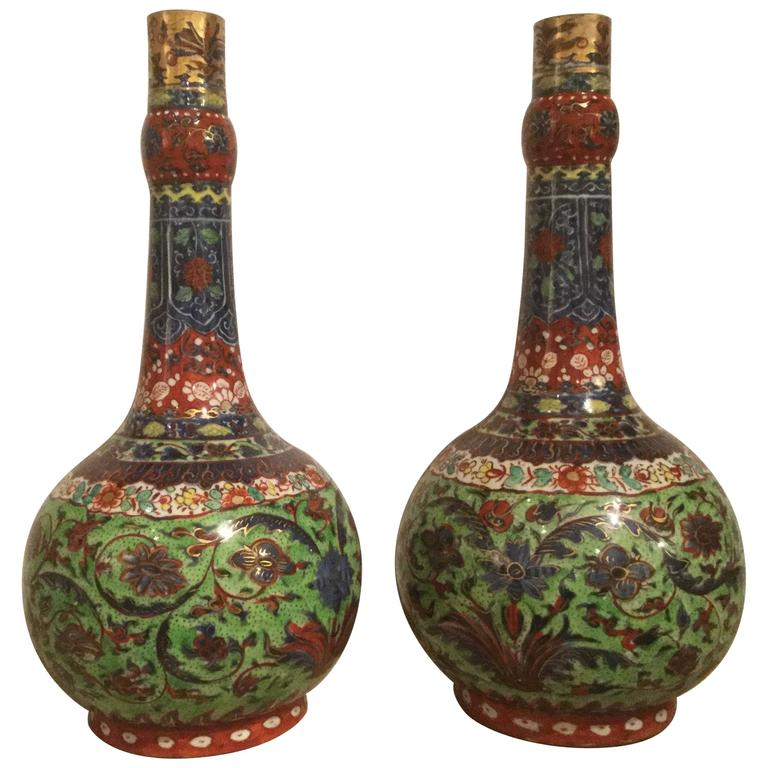 Outstanding Pair of 18th Century Chinese Clobbered Vases