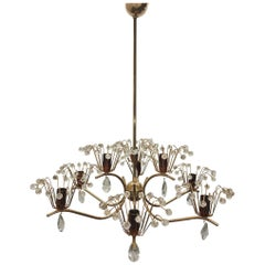 "Emil Stejnar Chandelier ""Water Fountain"" Brass Copper Glass"
