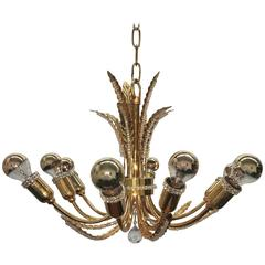 Petite Palwa Gold Plate Leaf and Crystal Chandelier