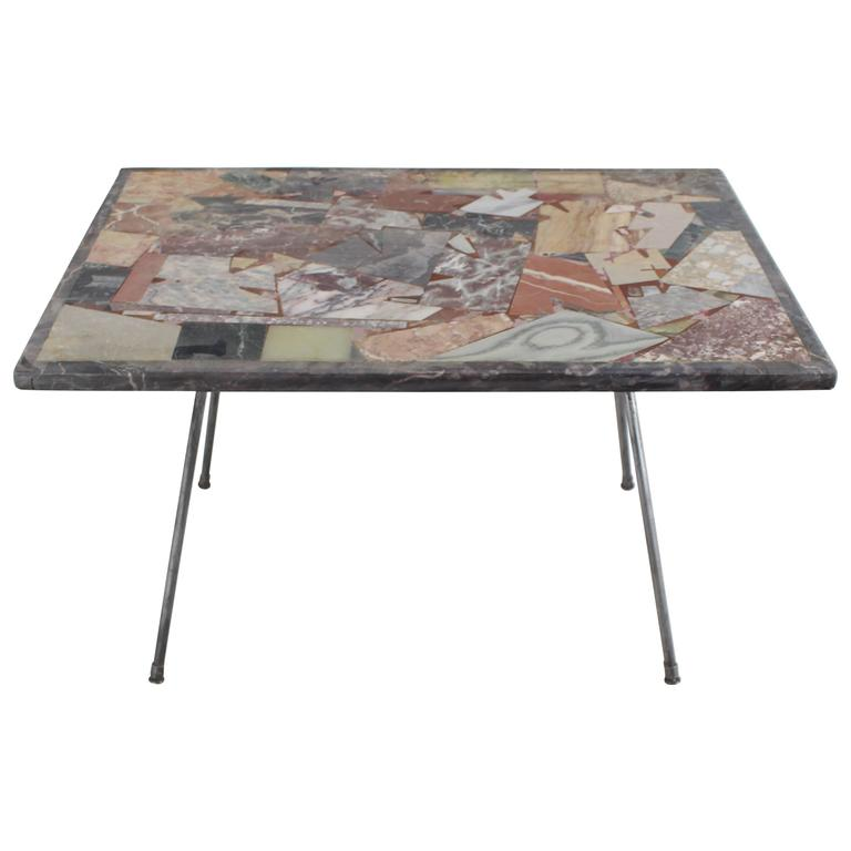 Marquetry Marble Coffee Table: Multiple Stone Slate Marble Inlay Mosaic Top Side Coffee