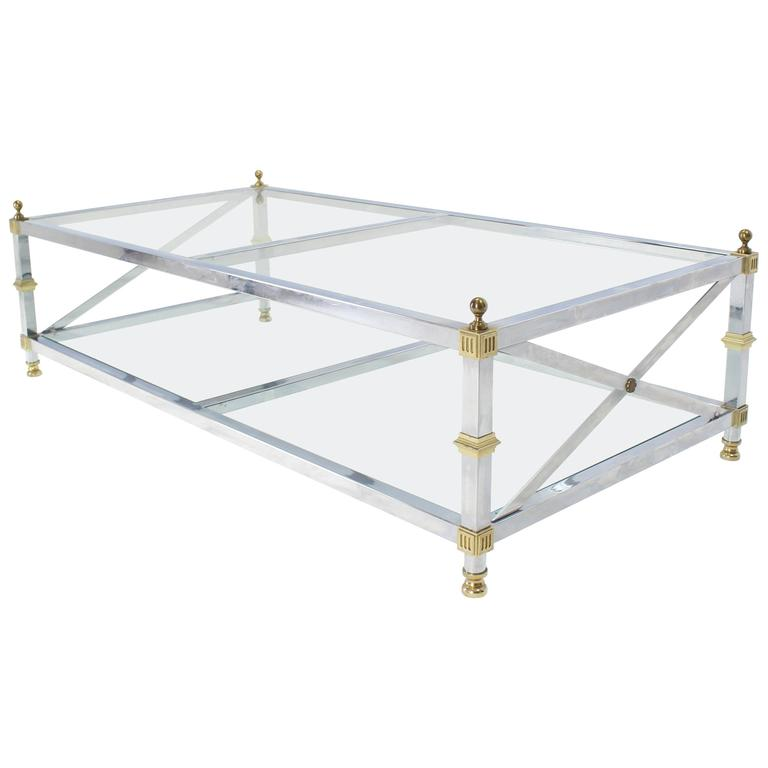 Chrome Brass Glass Two-Tier Coffee Table with X-Stretchers