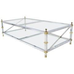 Chrome Brass Glass Two-Tier Coffee Table with X-Stretchers