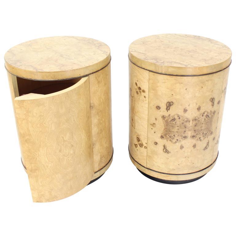 Pair Of Cylinder Drum Shape End Tables Nightstands Burl Wood