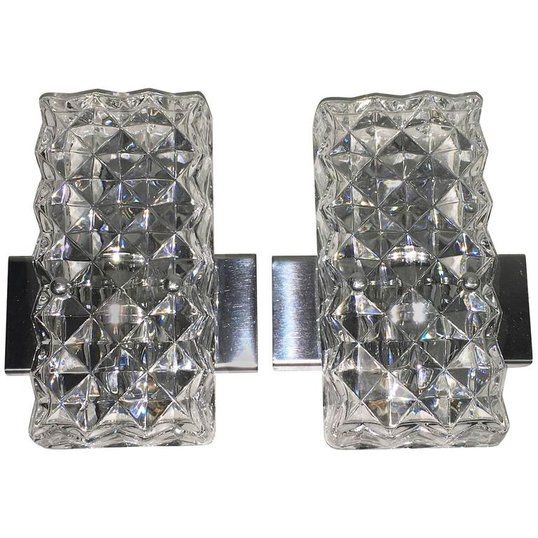 Pair of Rectangular Glass Sconces with Chrome Fixture For Sale