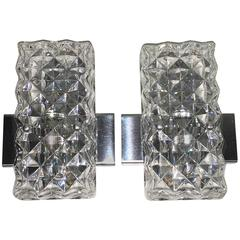 Pair of Rectangular Glass Sconces with Chrome Fixture