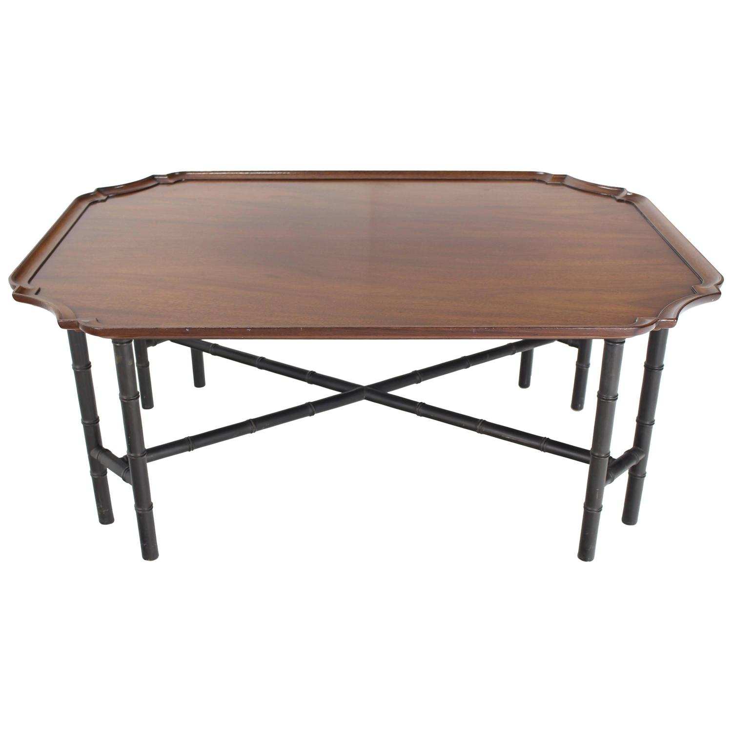 faux bamboo tray top rectangle coffee table by kittinger for sale