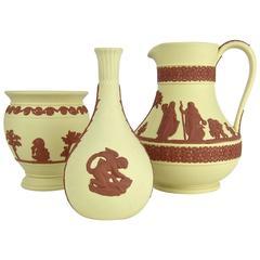 Vintage Wedgwood Jasper Ware Etruscan Jug, Bud and Potpourri Vase Collection