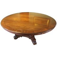 William IV Mahogany Large Round Pedestal Dining or Centre Table