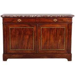 French Buffet with Brass Trim and Marble Top Circa 1920