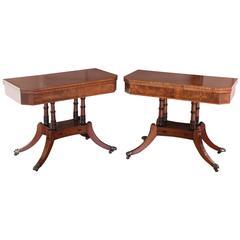 Good Pair of Regency Mahogany Card Tables with Ebony and Boxwood Inlay