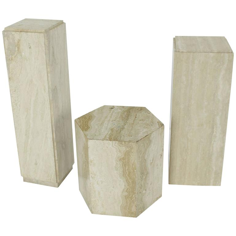 Travertine Marble Pedestal Hexagon Square Tower Shape At
