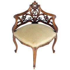 Carved Walnut Art Nouveau French Corner Chair