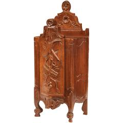 Early 20th Century French Carved Walnut Bombe Flour Box from Provence