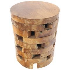 Stacked Teak Wood Block Round Pedestal Stool Bench