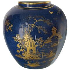 Carlston Ware Globe Shape Cobalt Blue Vase Gold Decorated