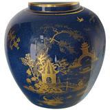 Carlston Ware Globe Shape Cobalt Blue Vase Gold Decorated