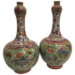 Pair of Early 19th Chinese Century Clobbered Vases