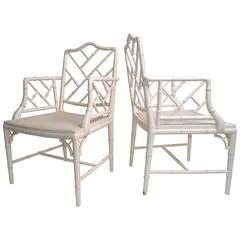 Hollywood Regency Faux Bamboo Chippendale Armchairs, a Pair