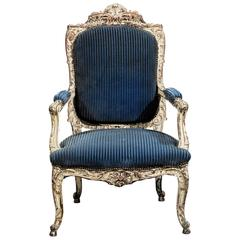 19th Century Regency Style Carved and Painted Fauteuil