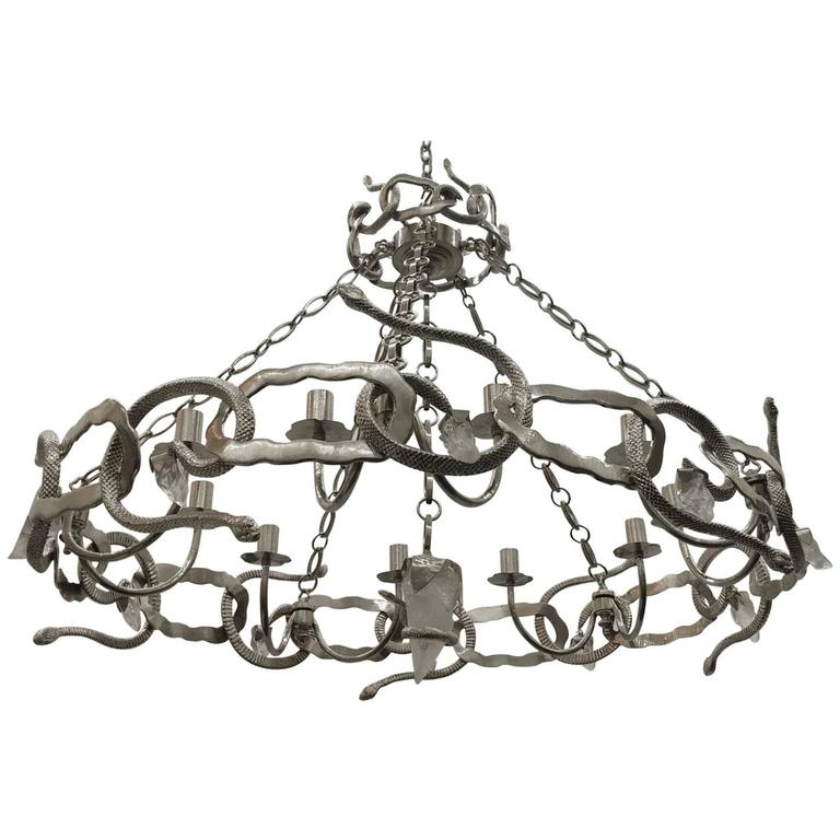 Cast Bronze and Rock Crystal Serpent Chandelier For Sale