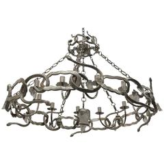 Cast Bronze and Rock Crystal Serpent Chandelier