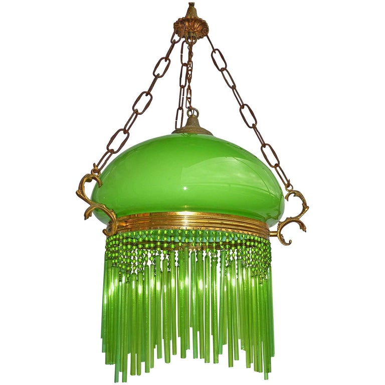 Art Nouveau/Art Deco Chandelier/Pendant Light with Opaline Green Glass Shade