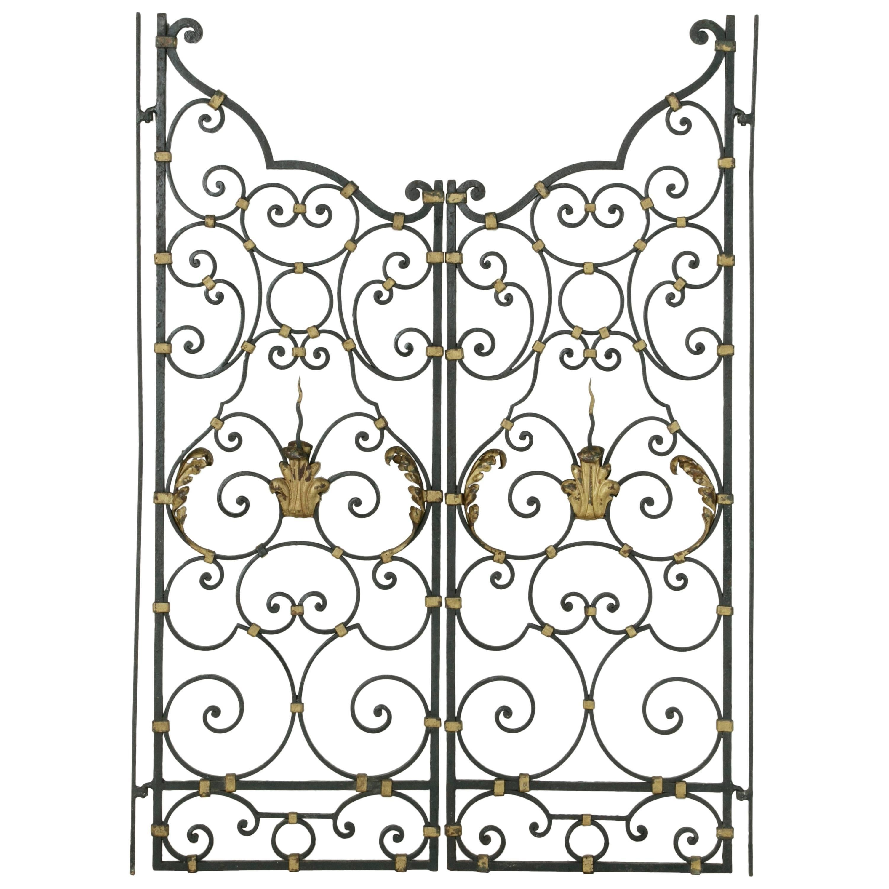 19th century french hand f ed double faced iron gates gold Mercury Milan Hood 19th century french hand f ed double faced iron gates gold detailing acanthus at 1stdibs