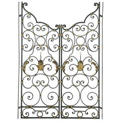 19th Century French Hand-Forged Double Faced Iron Gates Gold Detailing Acanthus