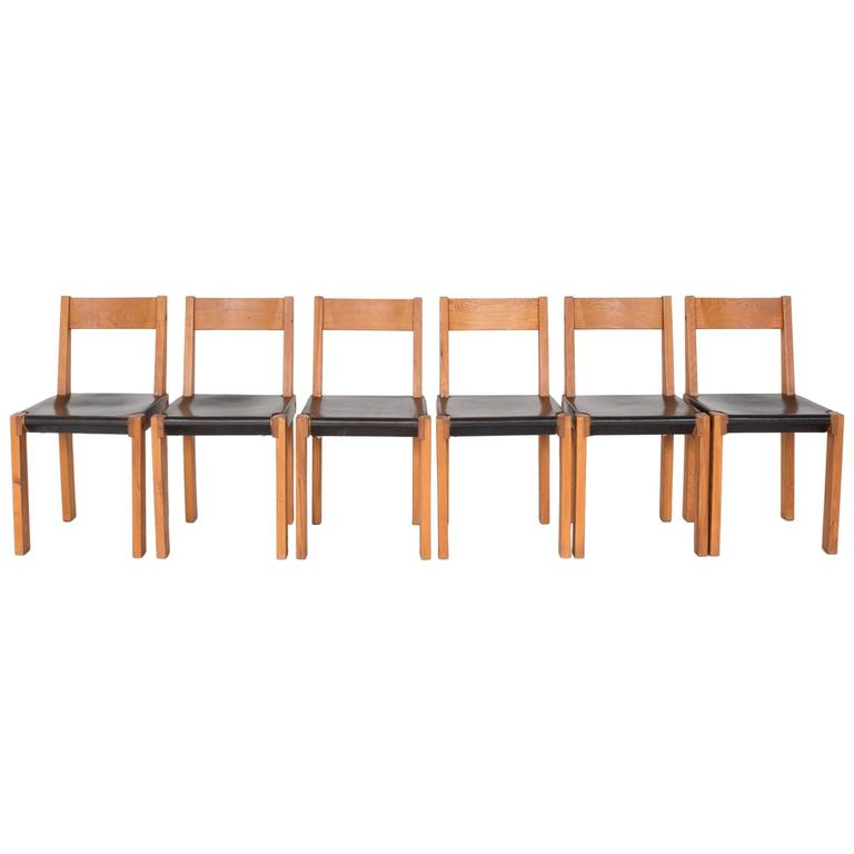 "Pierre Chapo ""S24"" Dining Chairs For Sale"