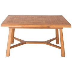 French 1950s Oak Extendable Dining Table