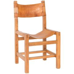 Leather and Oak Side Chair in the Style of Pierre Chapo