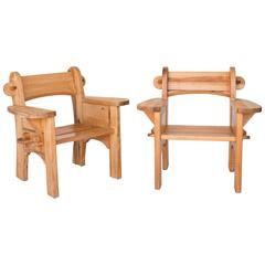 Pair of Pine Berga Lounge Chairs by David Rosén & Axel Einar Hjorth