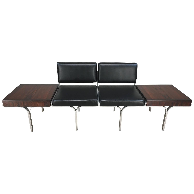 Jens risom floating bench for sale at 1stdibs - John Behringer For Jg Furniture Bench Having Brazilian Rosewood End Tables