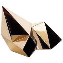 Discovery Vessel A, Cast Bronze Handmade Geometric Tabletop Sculptural Vase