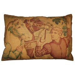 Antique Tapestry Cartoon Pillow, circa 1920