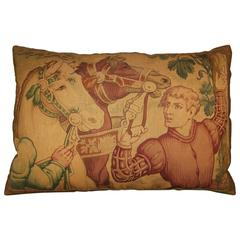 Antique Tapestry Cartoon Pillow, circa 1920