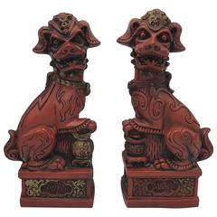 1960s Red and Gold Foo Dogs, Pair