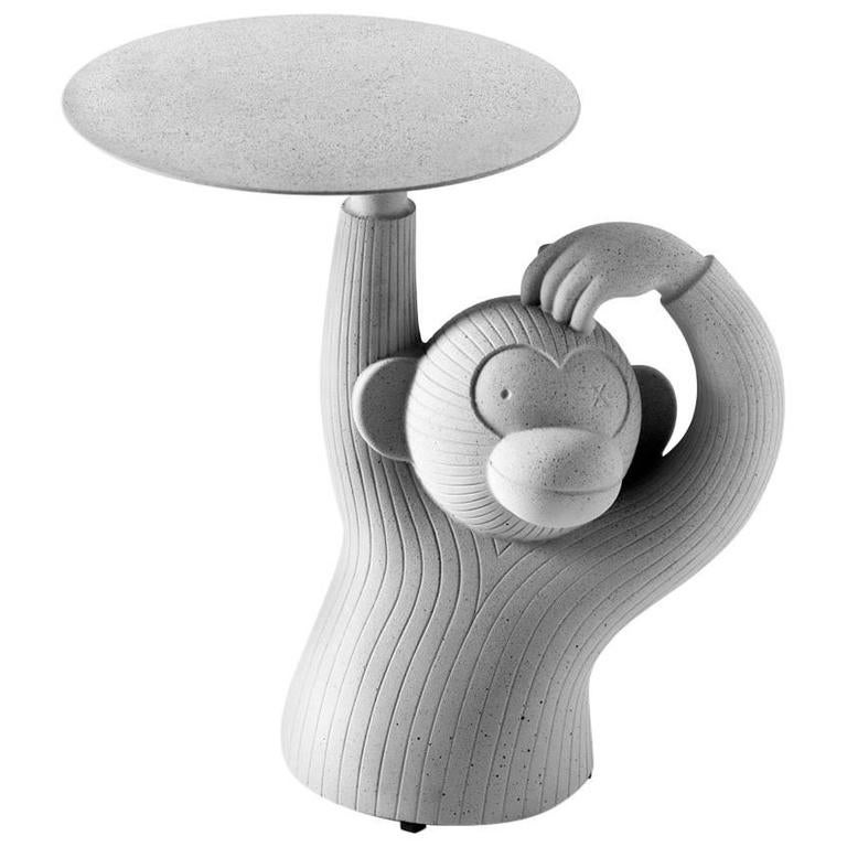 Jaime Hayon Monkey Side Table in Solid Concrete for Indoor and Outdoor Use For Sale