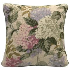 1960s Hydrangea Needlepoint Pillow with Velvet Backing