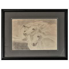 Signed and Dated Pencil Drawing of Three Horses