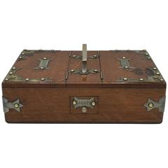 1940s Cigar Humidor Box with Brass Campaign Chest Detailing